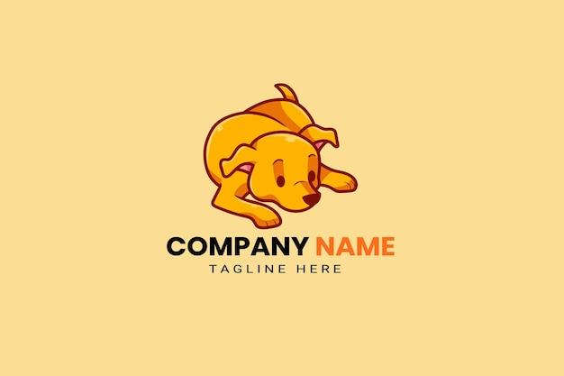 かわいいカワイイ子犬マスコット漫画ロゴデザインテンプレートアイコンイラスト手描き