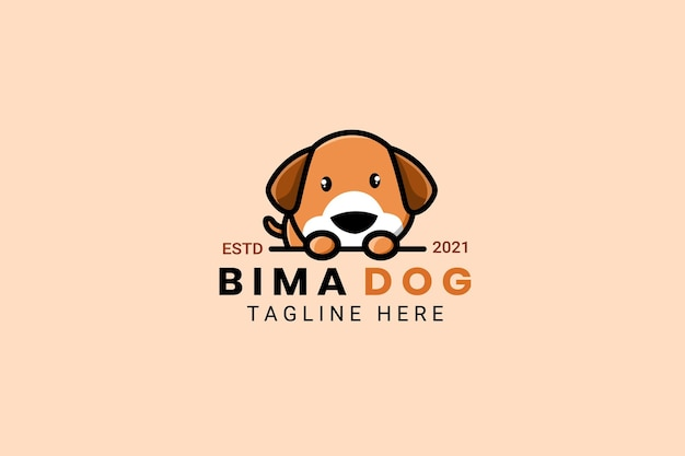 Cute kawaii puppy dog mascot cartoon logo design template