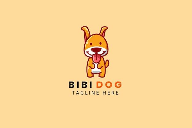 Cute kawaii puppy dog mascot cartoon logo design template