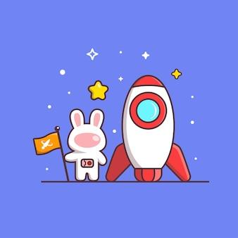ロケットと旗を保持しているかわいいカワイイウサギ宇宙飛行士