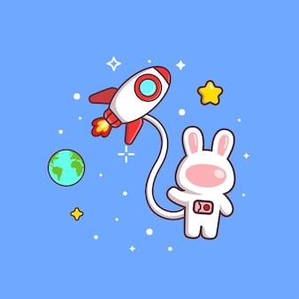 로켓과 깃발을 들고 귀여운 귀여운 토끼 우주 비행사