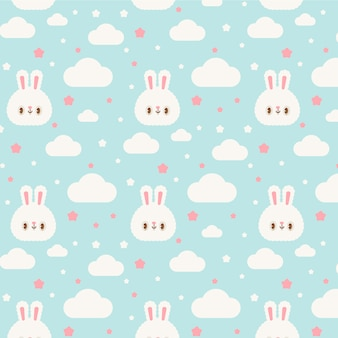 Cute kawaii rabbits and clouds transparent seamless pattern
