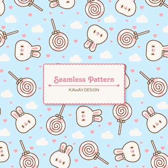 Cute kawaii rabbits and lolly pops transparent seamless pattern
