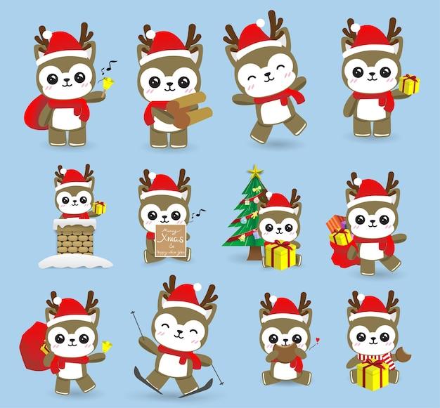 かわいいかわいいトナカイのクリスマス、明けましておめでとうございます