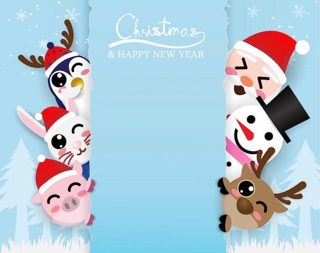 Cute kawaii santa claus and reindeer meeting in forest,digitalcraft,paper cut