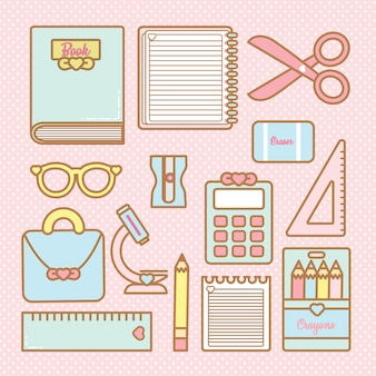 Cute kawaii school vector set