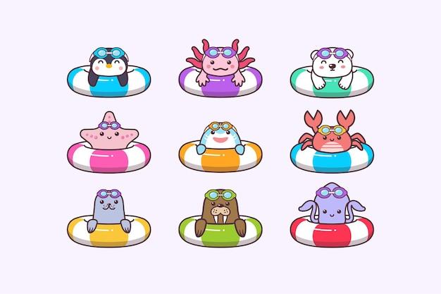 Cute kawaii  sea summer animals swimming with swimming ring buoy and swimming goggles