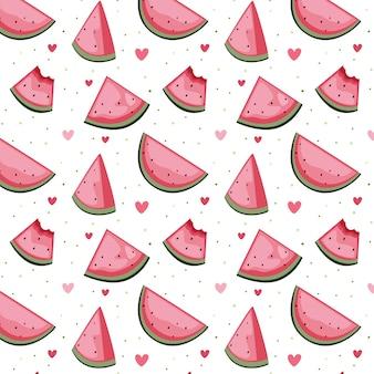 수박의 귀여운 귀여운 원활한 패턴 벡터