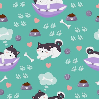 Cute kawaii sleeping siberian husky puppies with dog toys. seamless pattern.