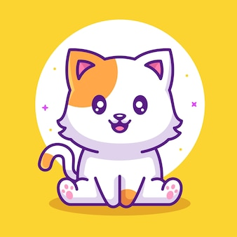 Cute kawaii smiling cat animal pet logo vector icon illustration in flat style