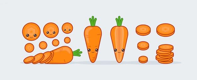 Cute kawaii smiling food, carrot set