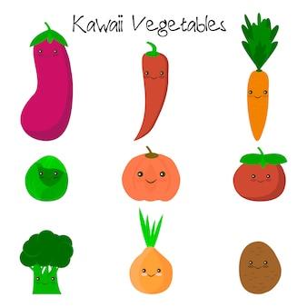 Cute kawaii smiling vegetables