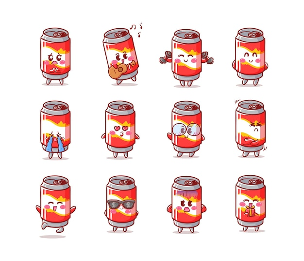 Cute and kawaii soda can set with various activity and expression