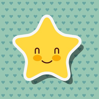Cute kawaii star smile hearts background vector illustration