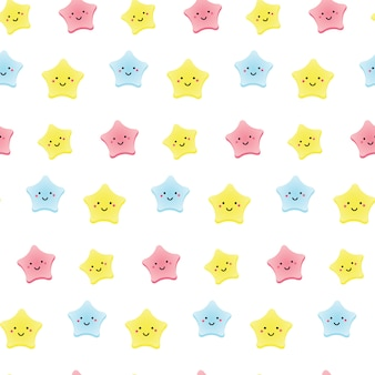 Cute kawaii stars. background for kids, babies and children design with smiling sky characters.