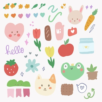 Cute kawaii sticker set with rainbow and tulip doodle art for journal element