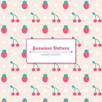 Cute kawaii strawberries and cherries seamless pattern