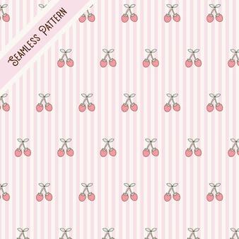 Cute kawaii stripes and strawberries seamless pattern