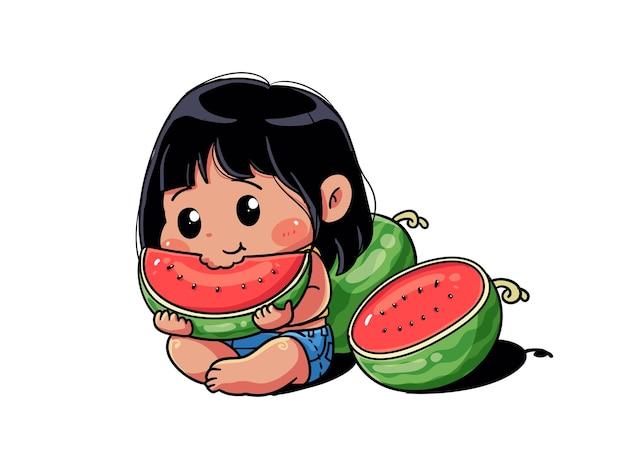 Cute and kawaii summer girl eat fresh watermelon chibi