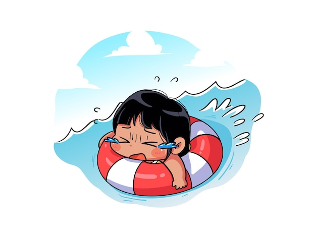 Cute and kawaii summer girl is carried away by the current on the buoy and dont know how to swim chibi