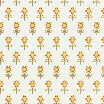 Cute kawaii sunflowers transparent seamless pattern