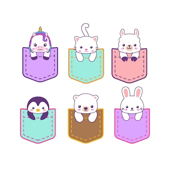 Cute kawaii sweet pocket animals