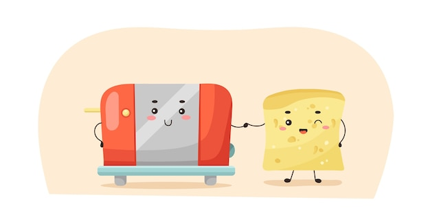 Cute kawaii toaster and toast bread holding hands.