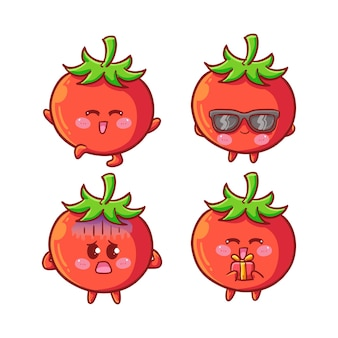 Cute and kawaii tomatoes sticker set with various activity and expression