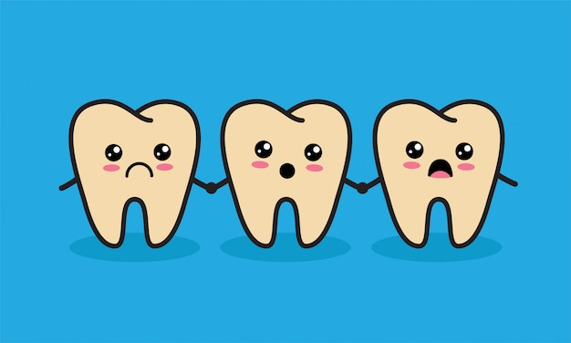 Cute kawaii unhealthy teeth characters. caries or tooth decay concept