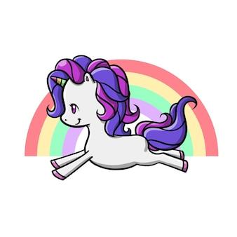 보라색 머리 벡터 일러스트와 함께 귀여운 귀여운 유니콘 만화