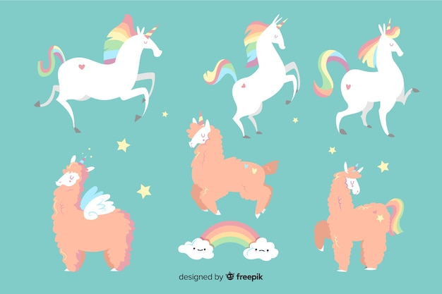 Cute kawaii unicorn character collection