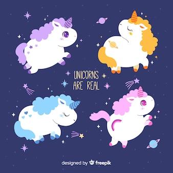 Cute kawaii unicorn character collection