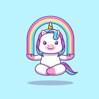 Cute kawaii unicorn doing yoga meditation with rainbow cartoon illustration