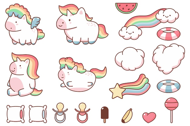Cute kawaii unicorn and funny design elements  cartoon set isolated on a white background.