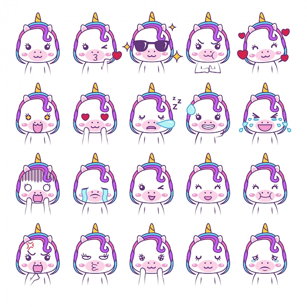 Cute kawaii unicorn social media emoticon adorable