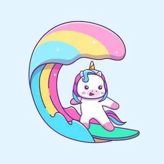 귀여운 귀여운 유니콘 서핑 만화 ilustration