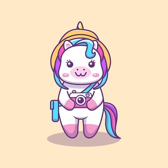 Cute kawaii unicorn on vacation with hat bag and camera cartoon illustration