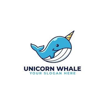 かわいいカワイイユニコーンクジラ遊び心のあるロゴマスコット