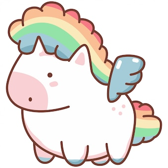 Cute kawaii unicorn with rainbow hair and angel wings. vector cartoon character isolated.