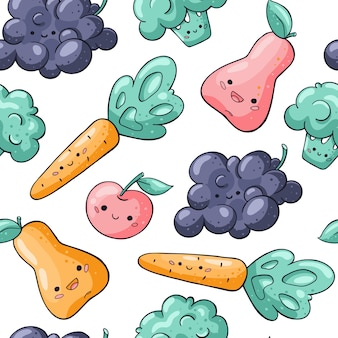 Cute kawaii vegetables and fruits seamless pattern on white
