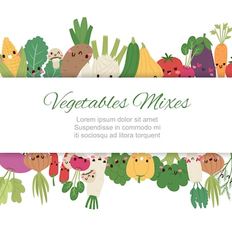 Cute kawaii vegetables mix with broccoli, carrot, tomato, pepper and onion, chili, eggplant, corn cartoon  illustration.