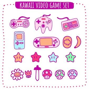 귀여운 카와이 비디오 게임 세트