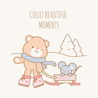 Cute kawaii winter bear and mouse flat illustration