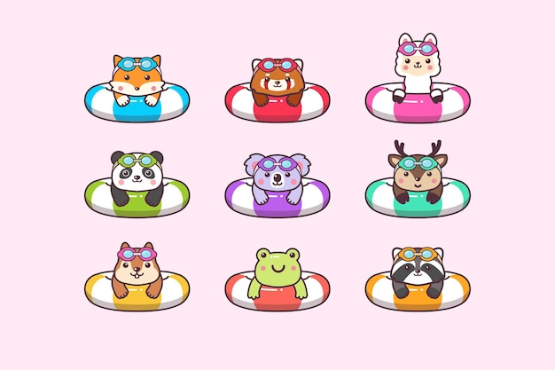 Cute kawaii  woodland summer animals swimming with swimming ring buoy and swimming goggles