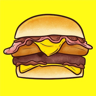 Cute kawaii yummy big beef chicken burger with cheese ready to eat