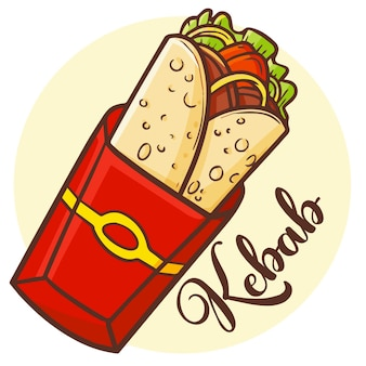 Cute kawaii yummy delicious kebab with red yellow paper packaging