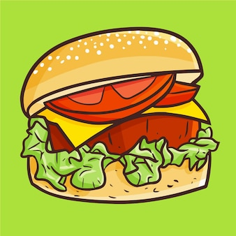 Cute kawaii yummy hamburger with thick meat ready to eat