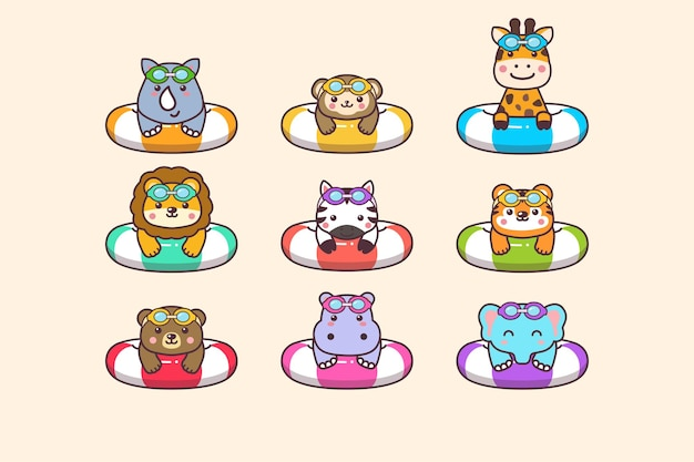 Cute kawaii zoo summer animals swimming with swimming ring buoy and swimming goggles