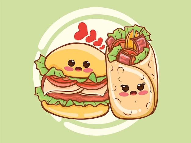 귀여운 케밥과 햄버거 커플 개념. 만화