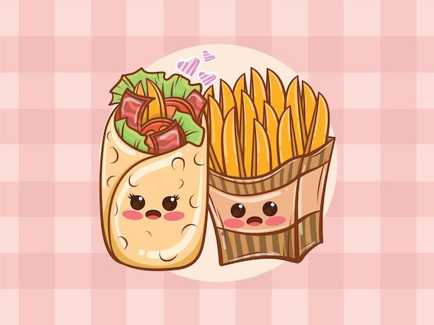 귀여운 케밥과 감자 튀김 몇 개념. 만화